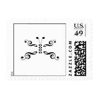 Music Symbols Butterfly Postage