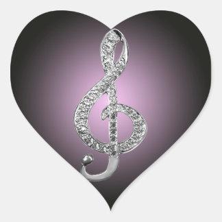 Music Symbols G-clef Heart Sticker