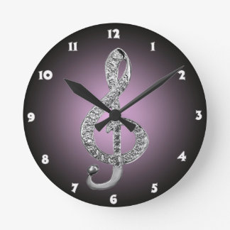 Music Symbols G-clef Round Clock