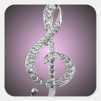 Music Symbols G-clef Square Sticker