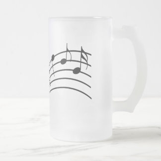 Music Symbols Wavy Staffs Musician's Frosted Glass Frosted Glass Beer Mug