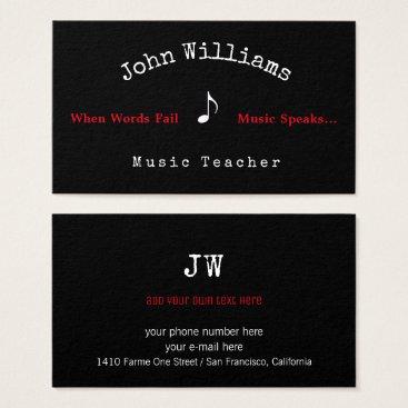Professional Business music teacher black business card   musical note