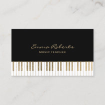 Music Teacher Black Gold Piano Keys Musical Business Card