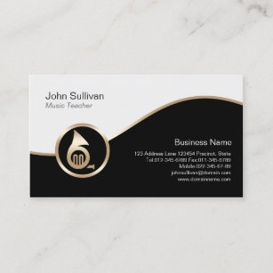 French teacher business cards zazzle music teacher business card gold french horn icon colourmoves