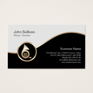 Music Teacher Business Card Gold French Horn Icon