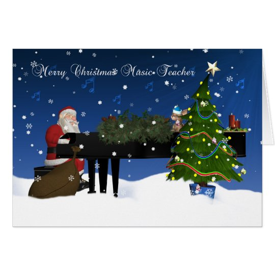 Music Teacher Card With Santa Playing Piano