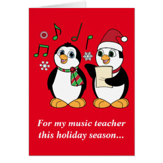 Music Teacher: Christmas Penguins Caroling Card