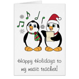 Music Teacher Christmas Penguins Singing Greeting Card