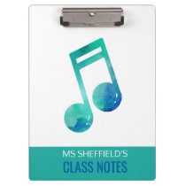 Music Teacher Class Notes Watercolor Personalized Clipboard