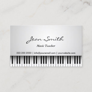 Piano teacher business cards zazzle music teacher classy white piano musical business card colourmoves