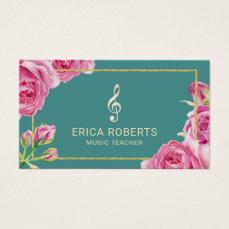 Music Teacher Elegant Floral Teal Business Card