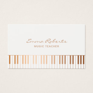 Piano business cards templates zazzle music teacher elegant gold piano keys musical business card colourmoves