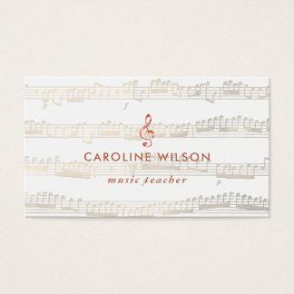 music teacher elegant rose gold clef business card