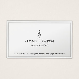 Music Teacher Elegant White Border Minimal Business Card