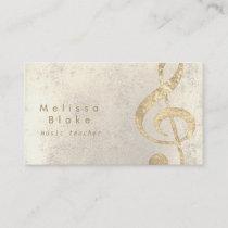 music teacher faux gold foil treble business card