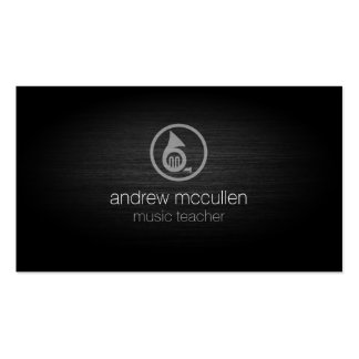 Music Teacher French Horn Icon Brushed Metal Music Double-Sided Standard Business Cards (Pack Of 100)
