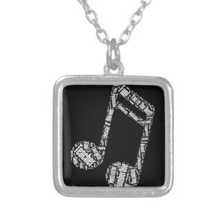 music teacher gift musical note typography wordart silver plated necklace