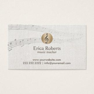 Music Teacher Gold Clef Logo Classy Linen Musical Business Card