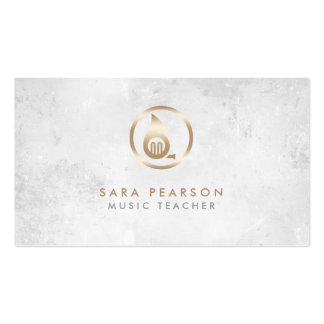 Music Teacher Gold French Horn Icon Business Card