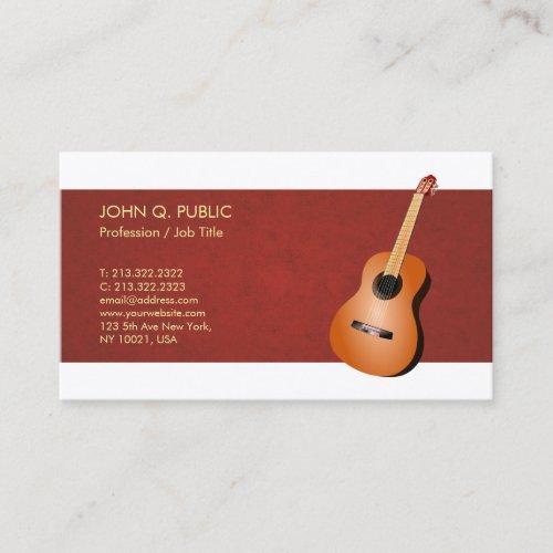 Music Teacher Guitar Elegant Silk Finish Luxe Business Card
