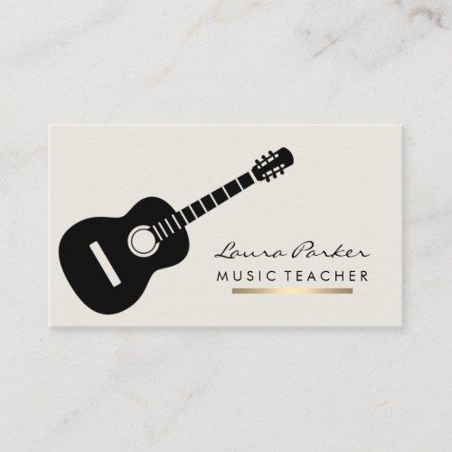 Music Teacher Guitar Player instrument Gold Business Card