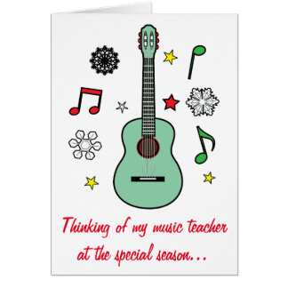 Music Teacher Holiday Card Guitar and Notes