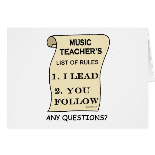Music Teacher List Of Rules Greeting Card