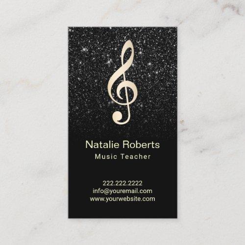 Music Teacher Musical Clef Logo Black Glitter Business Card