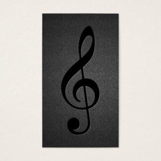 Music Teacher Musical Clef Symbol Elegant Black Business Card