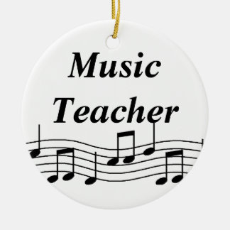 Music Teacher Musical Notes Double-Sided Ceramic Round Christmas Ornament