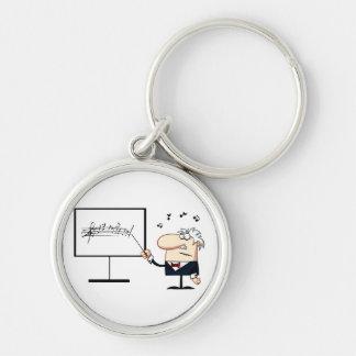 music teacher older man graphic Silver-Colored round keychain