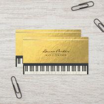 Music Teacher Piano Keyboard Musician Gold Foil Business Card