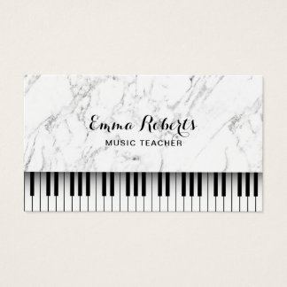 Music Teacher Piano Keys Elegant White Marble Business Card