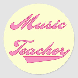 Music Teacher Pink Tshirts and Gifts Classic Round Sticker