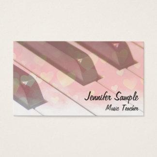 Music Teacher Professional Elegant Piano Keyboard Business Card
