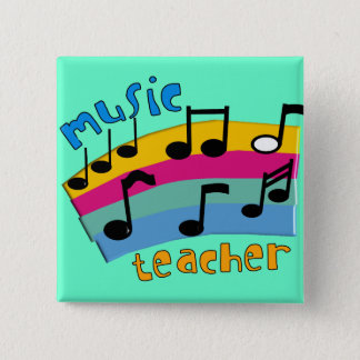 Music Teacher Rainbow Notes Gifts Button