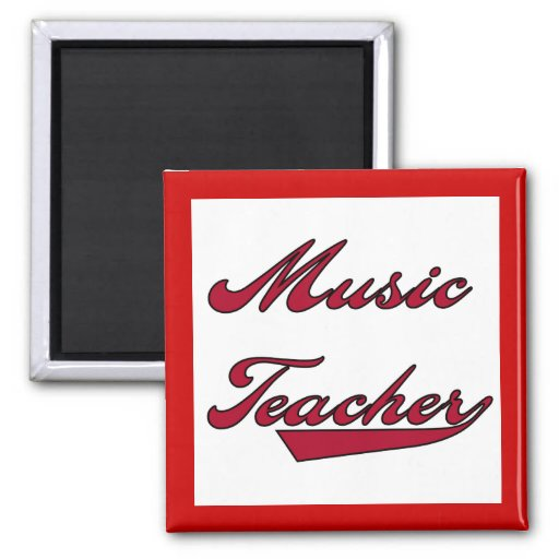 Music Teacher Red Tshirts and Gifts 2 Inch Square Magnet