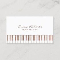 Music Teacher Rose Gold Piano Keys Musical Business Card
