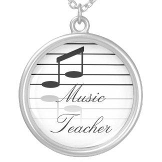 Music Teacher Round Pendant Necklace