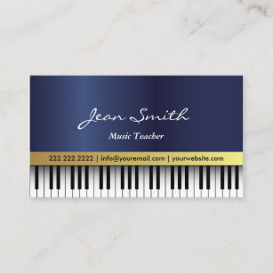 Music business cards 8000 music business card templates music teacher royal blue piano keys elegant business card colourmoves