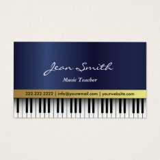 Music Teacher Royal Blue Piano Keys Elegant Business Card at Zazzle