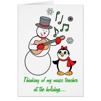 Music Teacher Snowman and Penguin Holiday Card