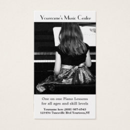 Music Teacher - Student practices piano Business Card