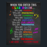 "Music Teacher -When You Enter This Classroom Rules Poster<br><div class=""desc"">Let them know you care with this inspirational classroom sign. If you are a music teacher, get one for your classroom! It also makes the perfect gift for the teacher in your life! Great for colorful classroom decor! Also a nice gift for the end of the school year, the first...</div>"