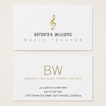 Professional Business music teacher white business card with music_note