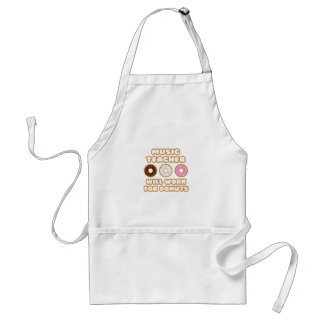 Music Teacher .. Will Work For Donuts Adult Apron