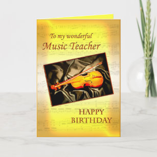 Music Teacherl Birthday Card With A Violin