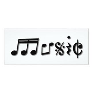 Music Text Design 4x9.25 Paper Invitation Card
