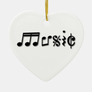 Music Text Design Double-Sided Heart Ceramic Christmas Ornament
