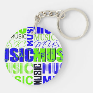 music text green blue white graphic Double-Sided round acrylic keychain